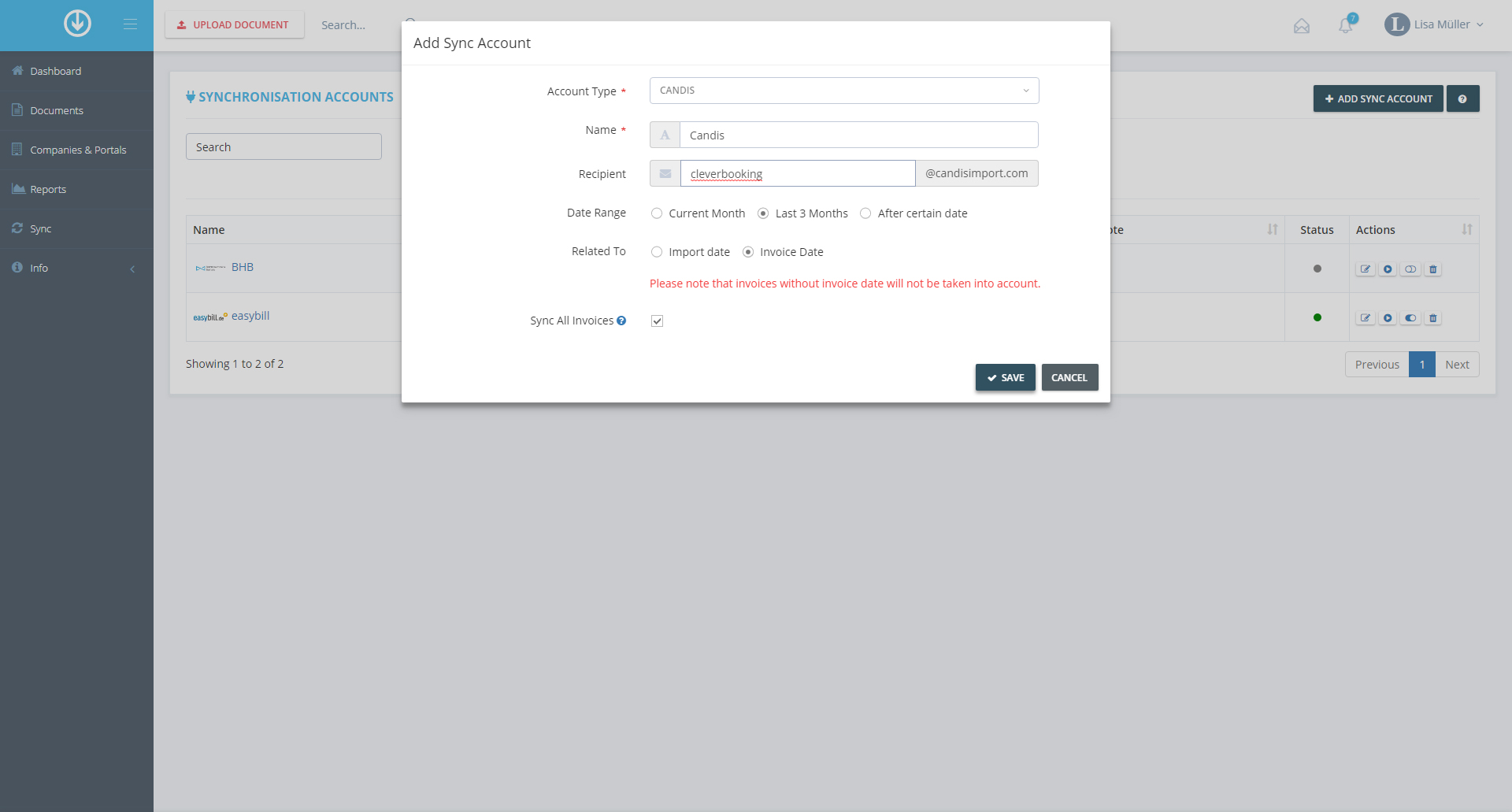 3. Add Synchronization Account