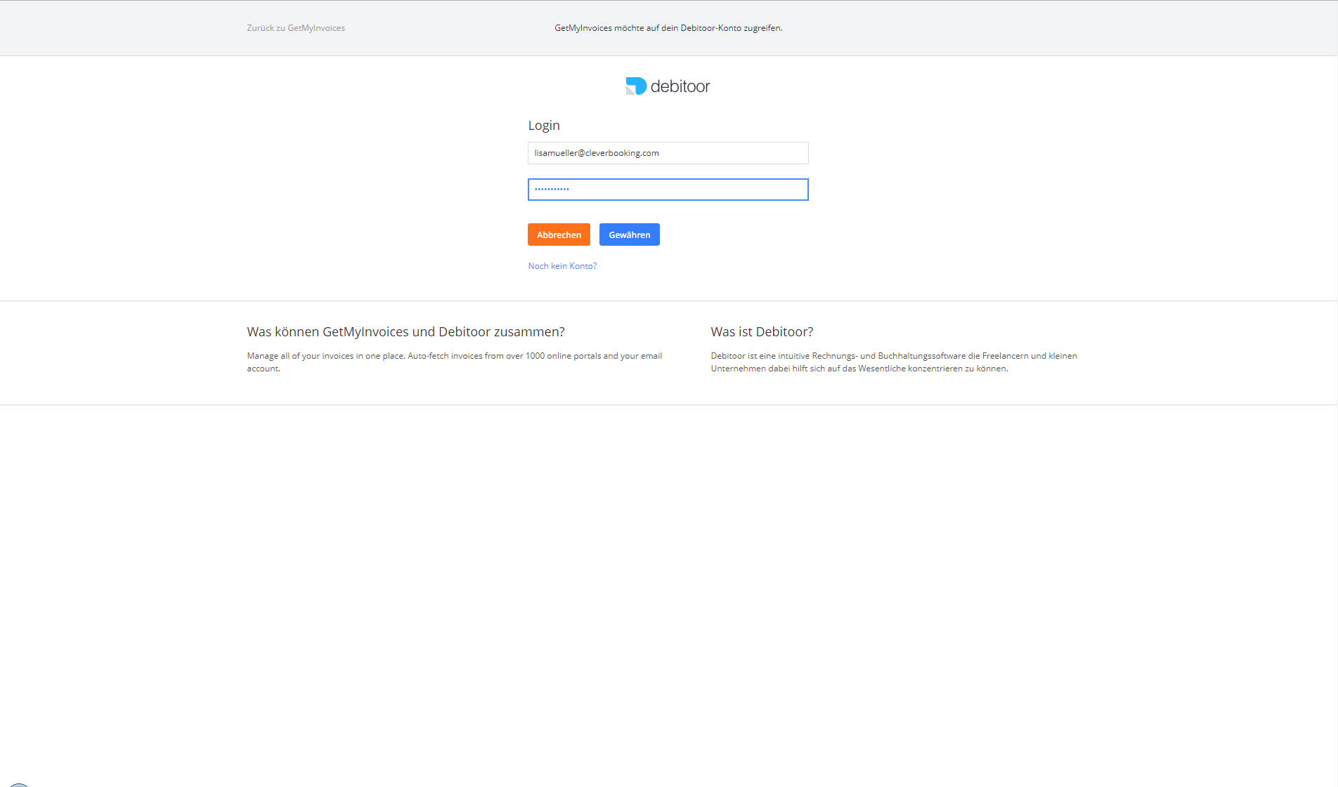 2. Document Import: Connect GetMyInvoices with Debitoor
