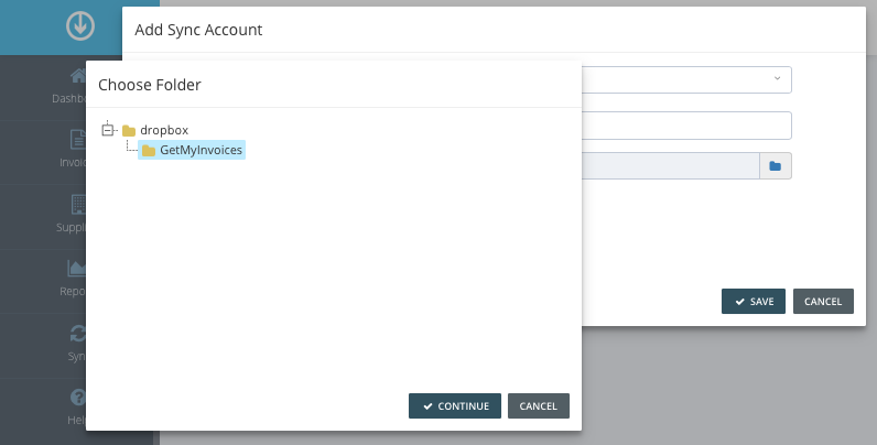 4. Configure sync account
