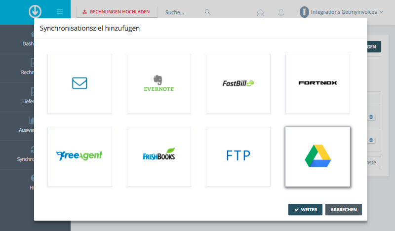 1. Integrations-Prozess starten