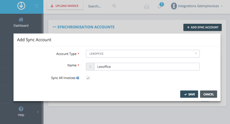 4. Add sync account