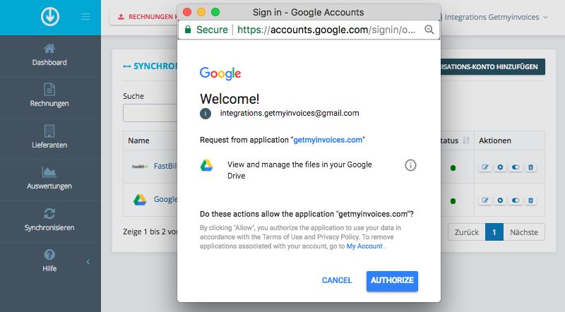 3. GetMyInvoices und Google Drive verbinden