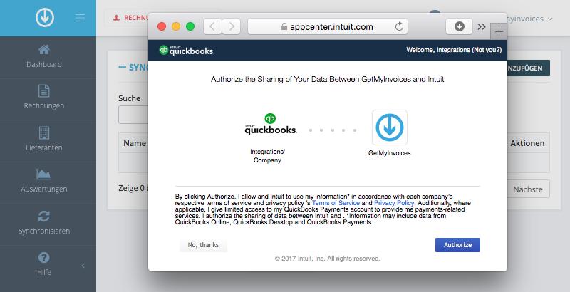 3. GetMyInvoices und QuickBooks verbinden