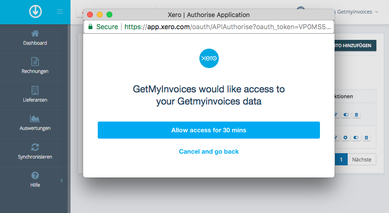 3. Connect GetMyInvoices and Xero