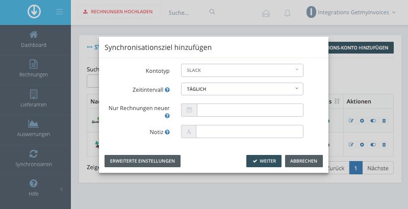 2. Synchronisations-Einstellungen konfigurieren