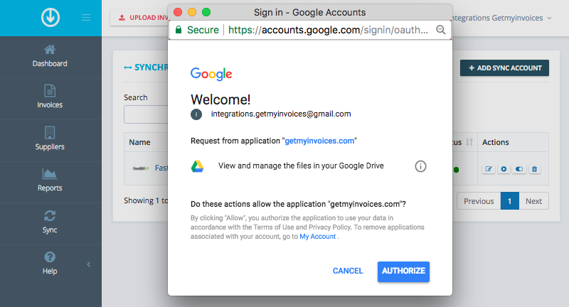 3. Connect GetMyInvoices and Google Drive