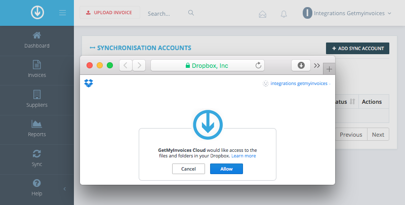 3. Connect GetMyInvoices and Dropbox
