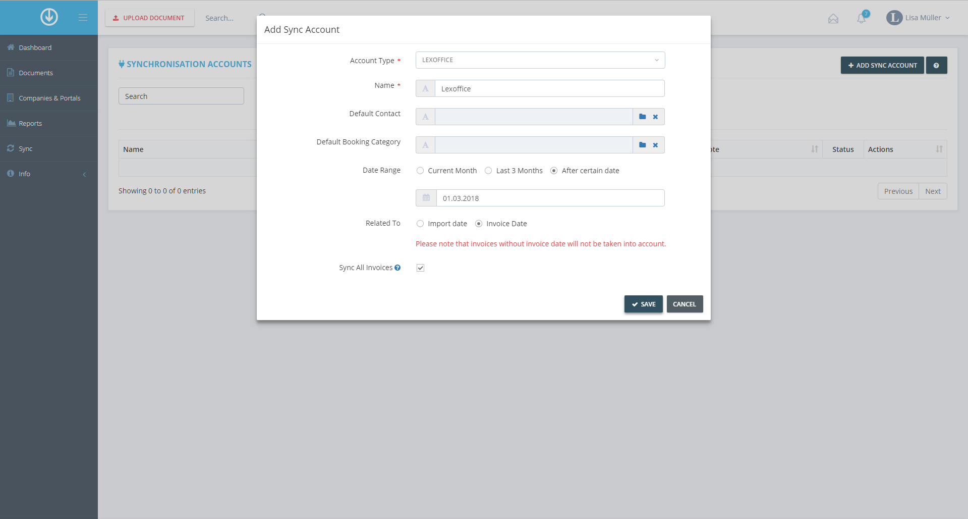 4.  Add Synchronization Account