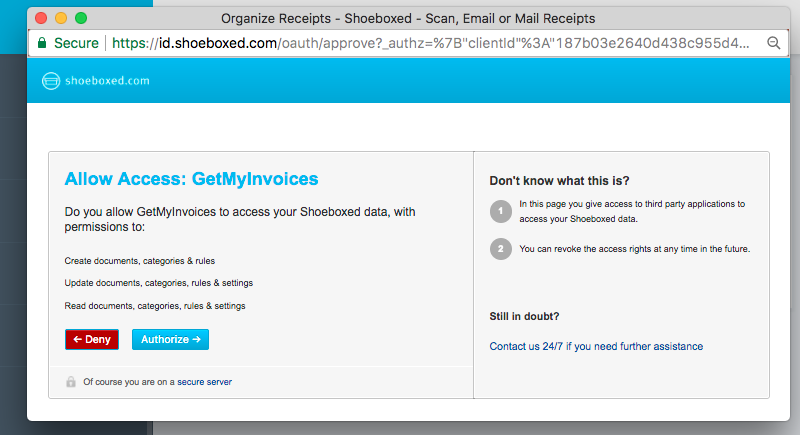 3. Verbind GetMyInvoices en Shoeboxed