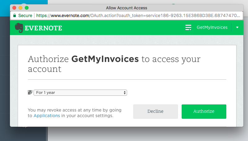 3. Connect GetMyInvoices and Evernote