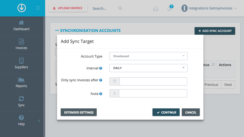 2. Configure sync settings