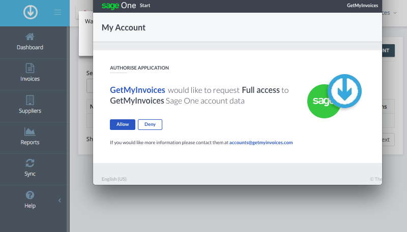 3. Connect GetMyInvoices and Sage Accounting