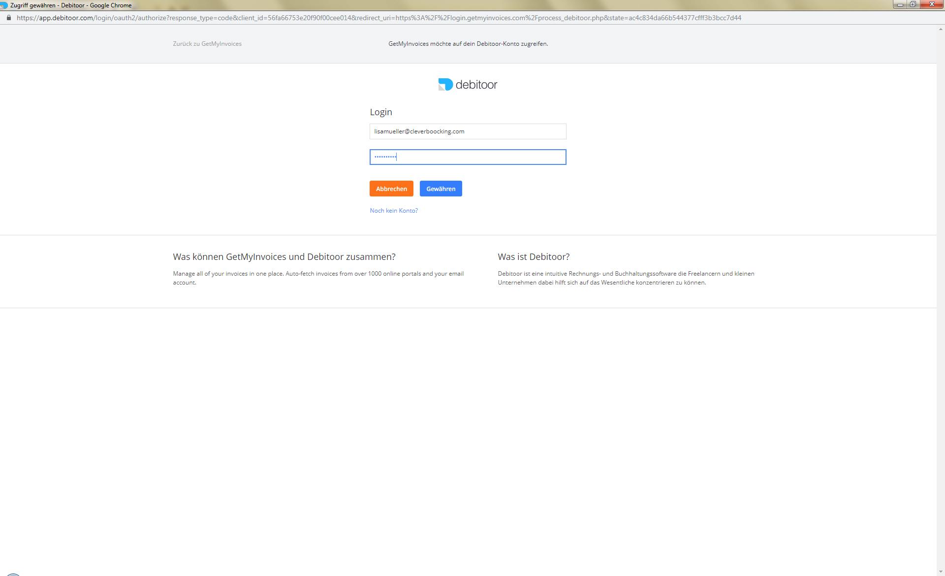 3. Dokumentenexport: GetMyInvoices mit Debitoor verknüpfen