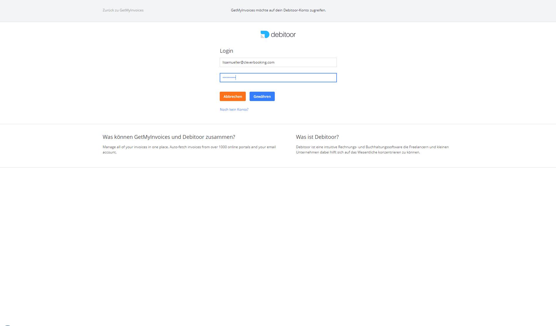 2. Dokumentenimport: GetMyInvoices mit Debitoor verknüpfen