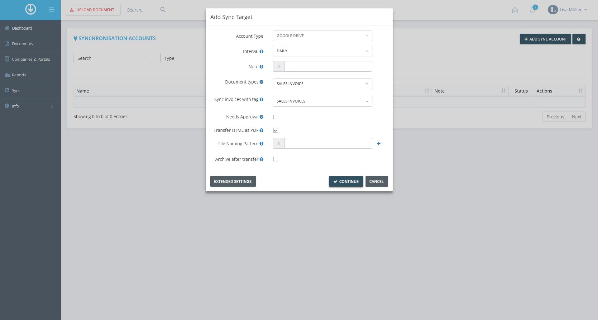 2. Exportation de documents :Ajouter des paramètres de synchronisation