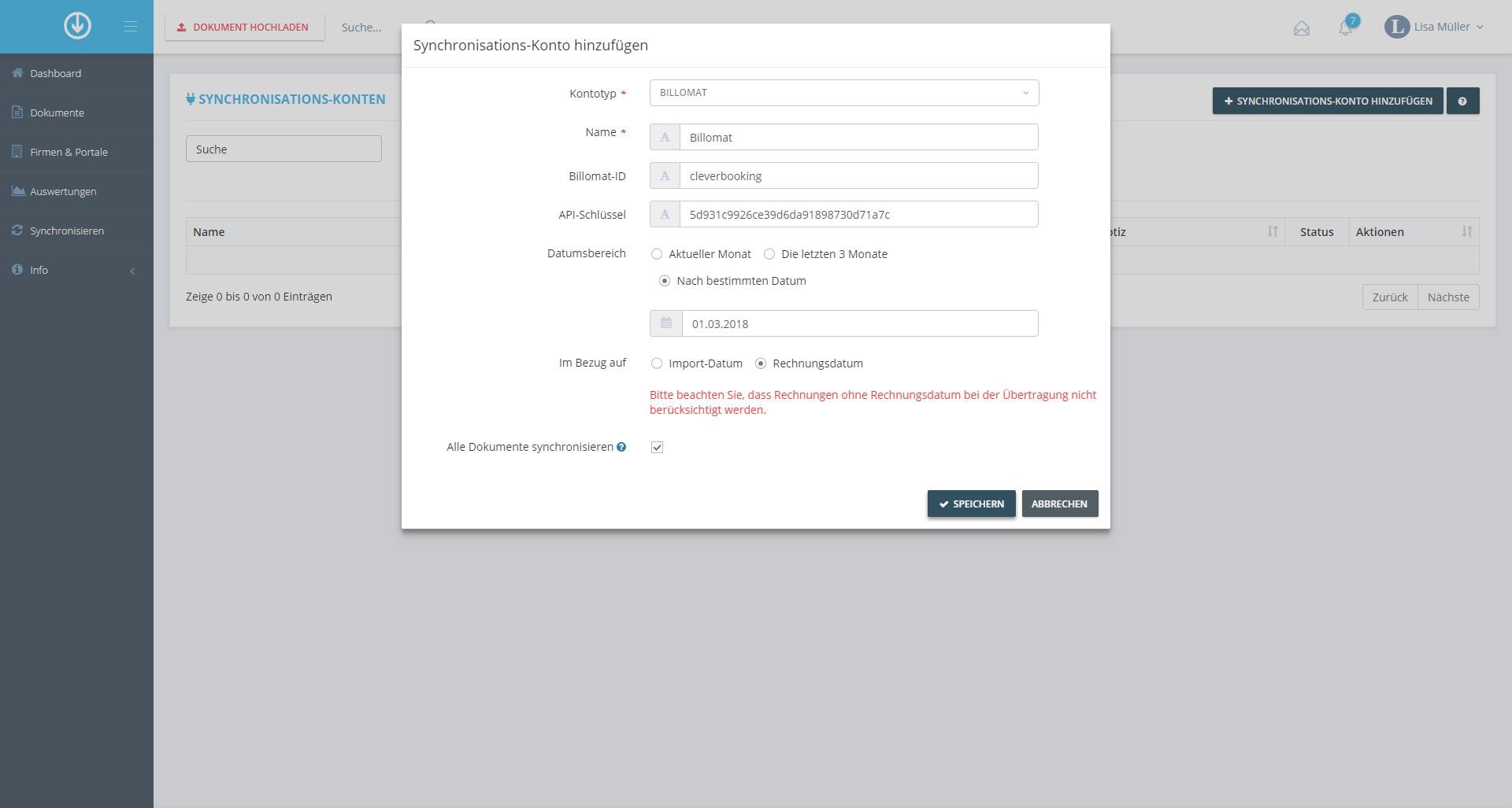3. Dokumentenexport: Synchronisations-Konto hinzufügen