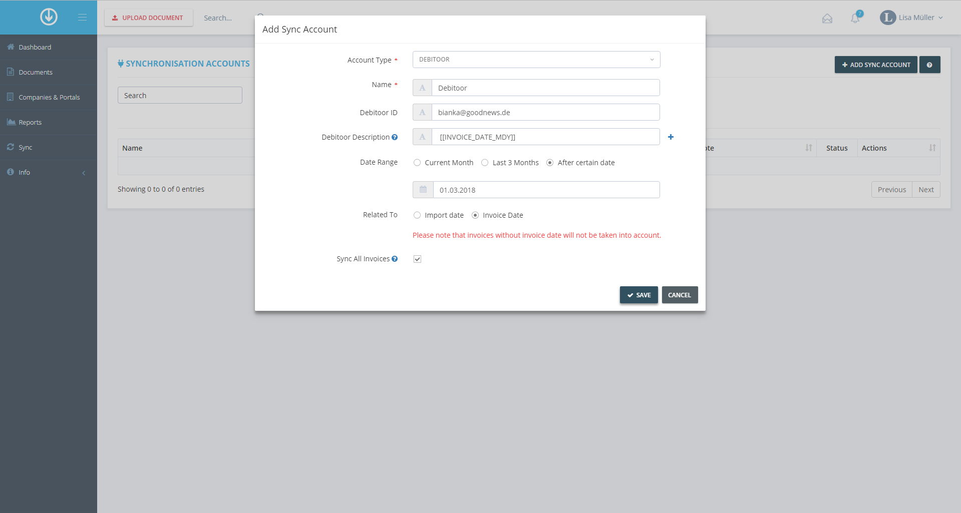 4. Document Export: Add Synchronization Account