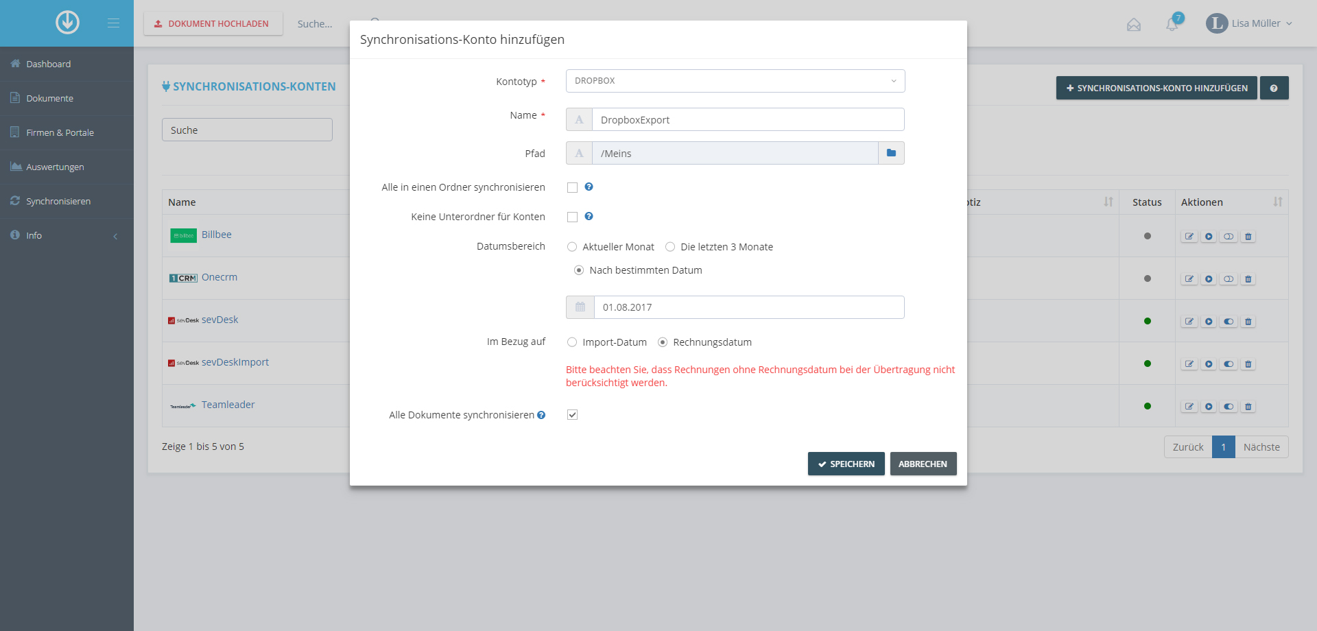 4. Document Export: Voeg Synchronisatie Account toe