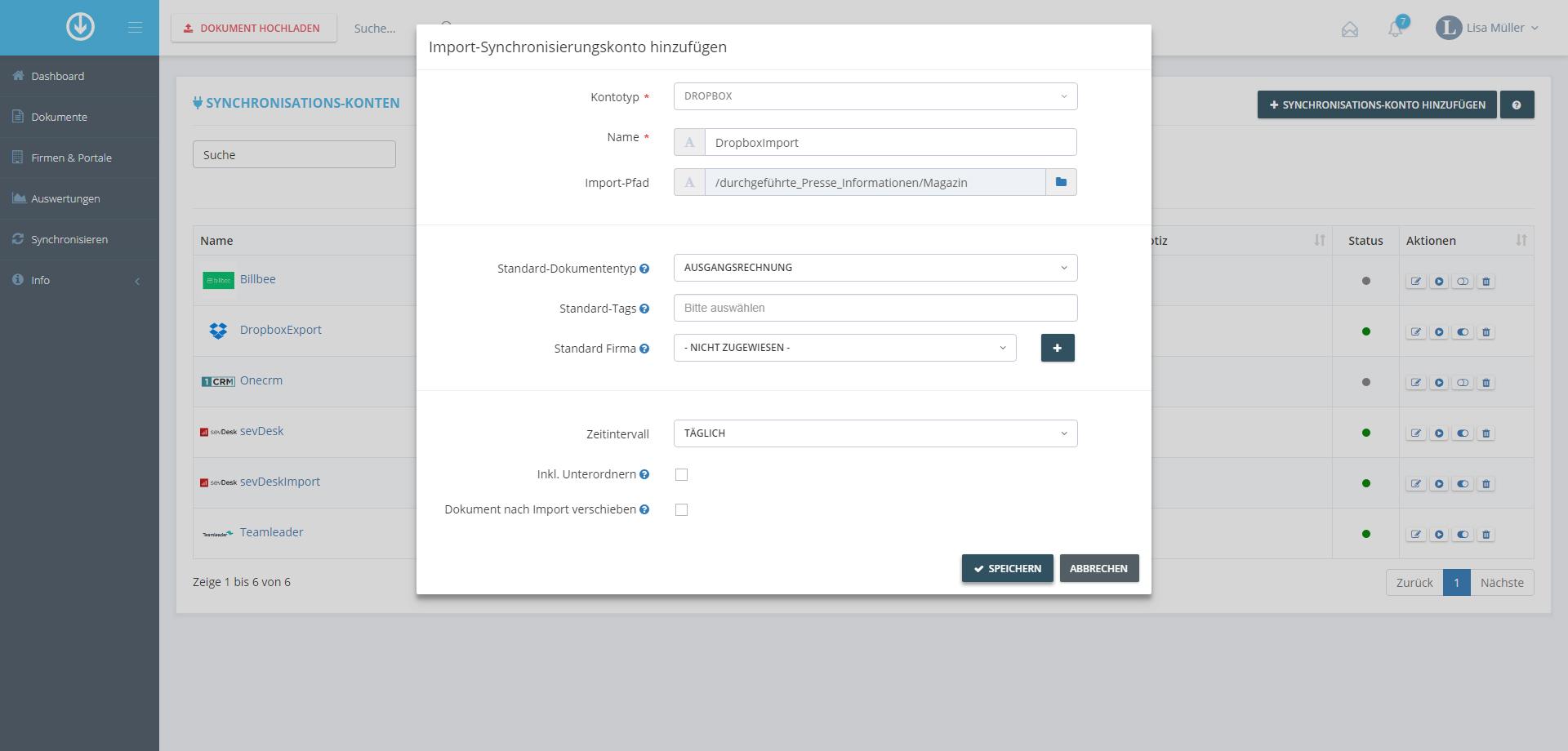 3. Document Import: Add Import-Synchronization Account