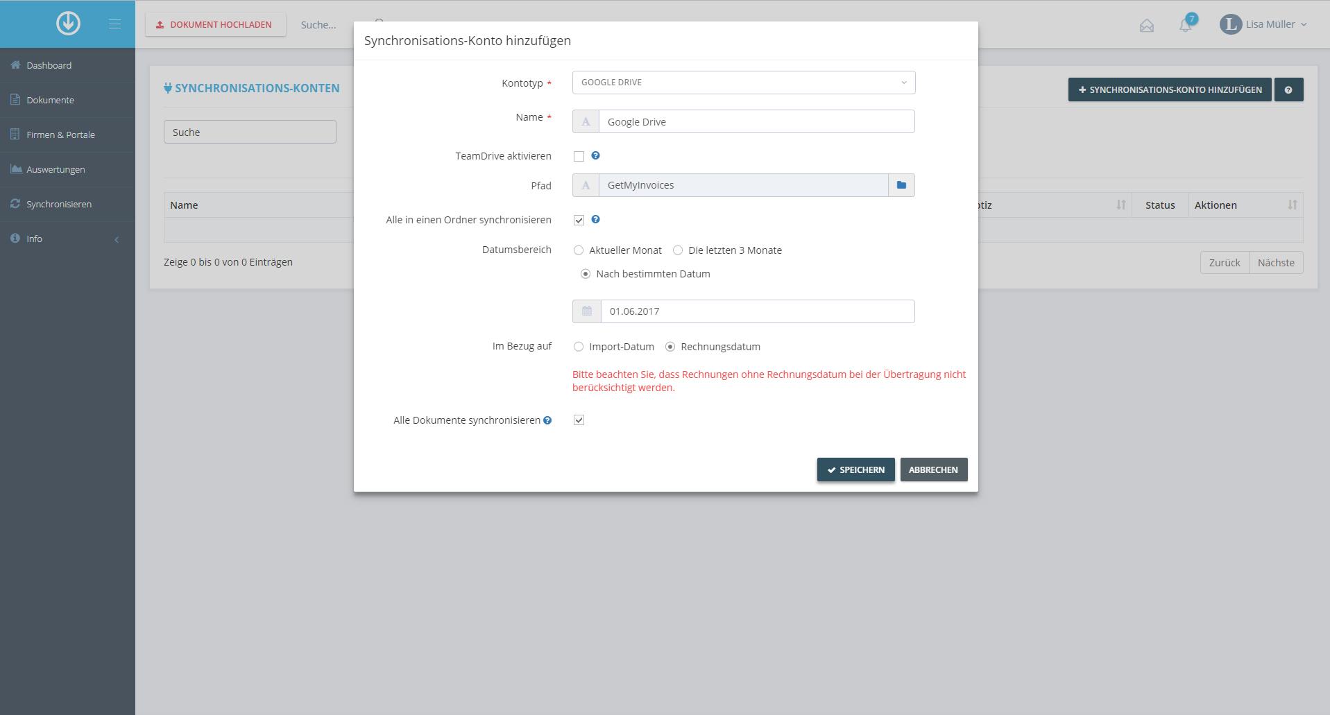 4. Dokumentenexport: Synchronisationskonto hinzufügen