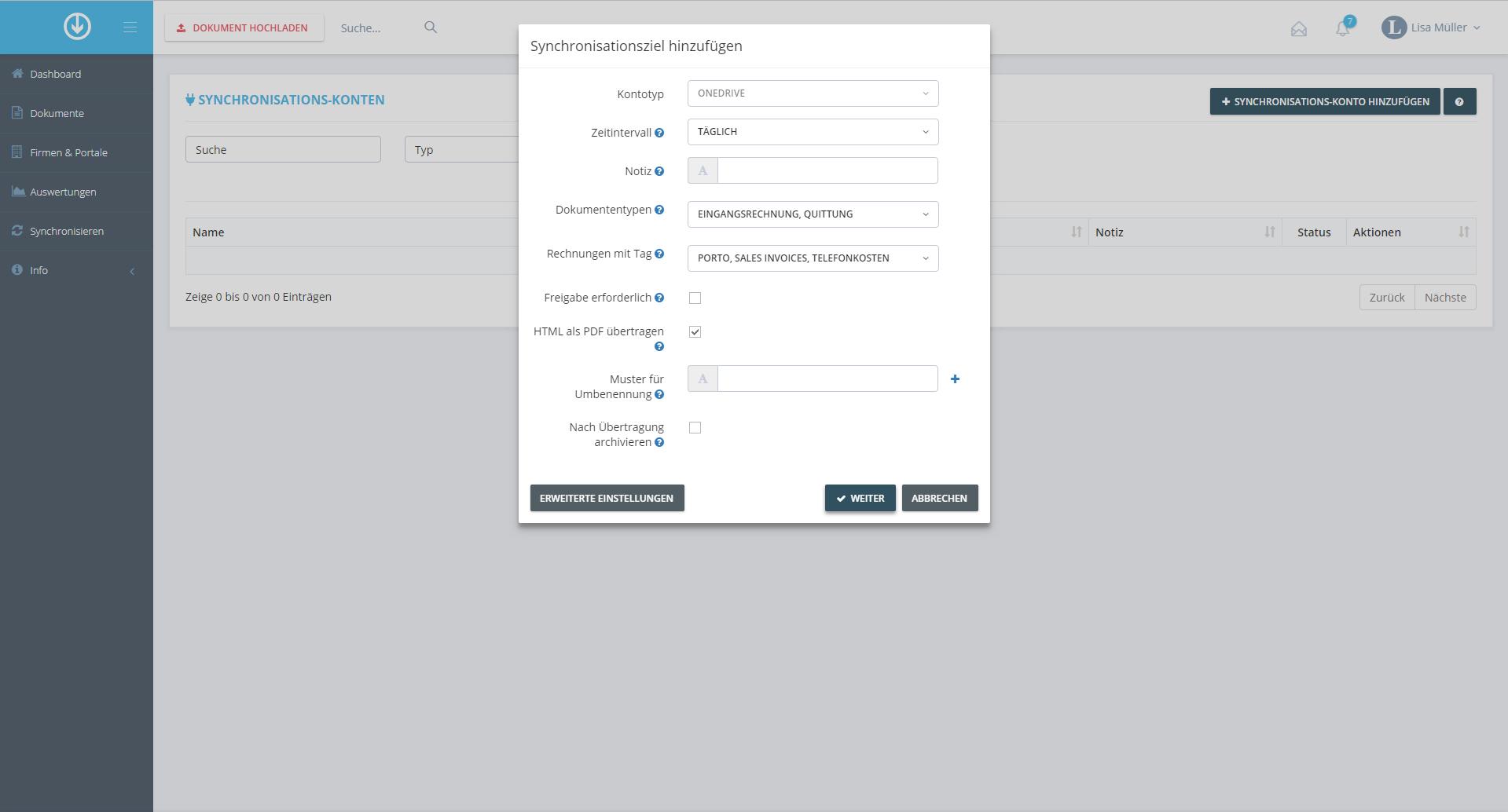 2. Dokumentenexport: Synchronisationsziel hinzufügen