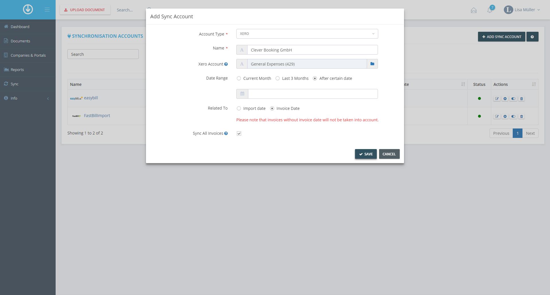 4. Add Synchronization Account