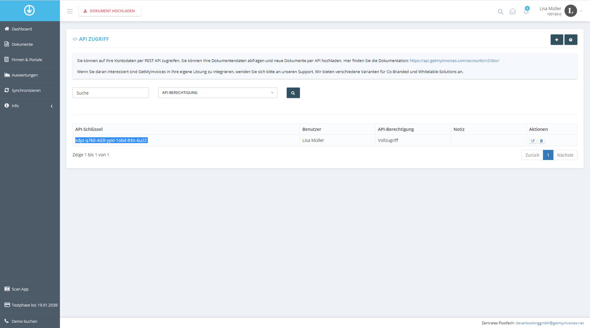 2. API-Key in GetMyInvoices abrufen