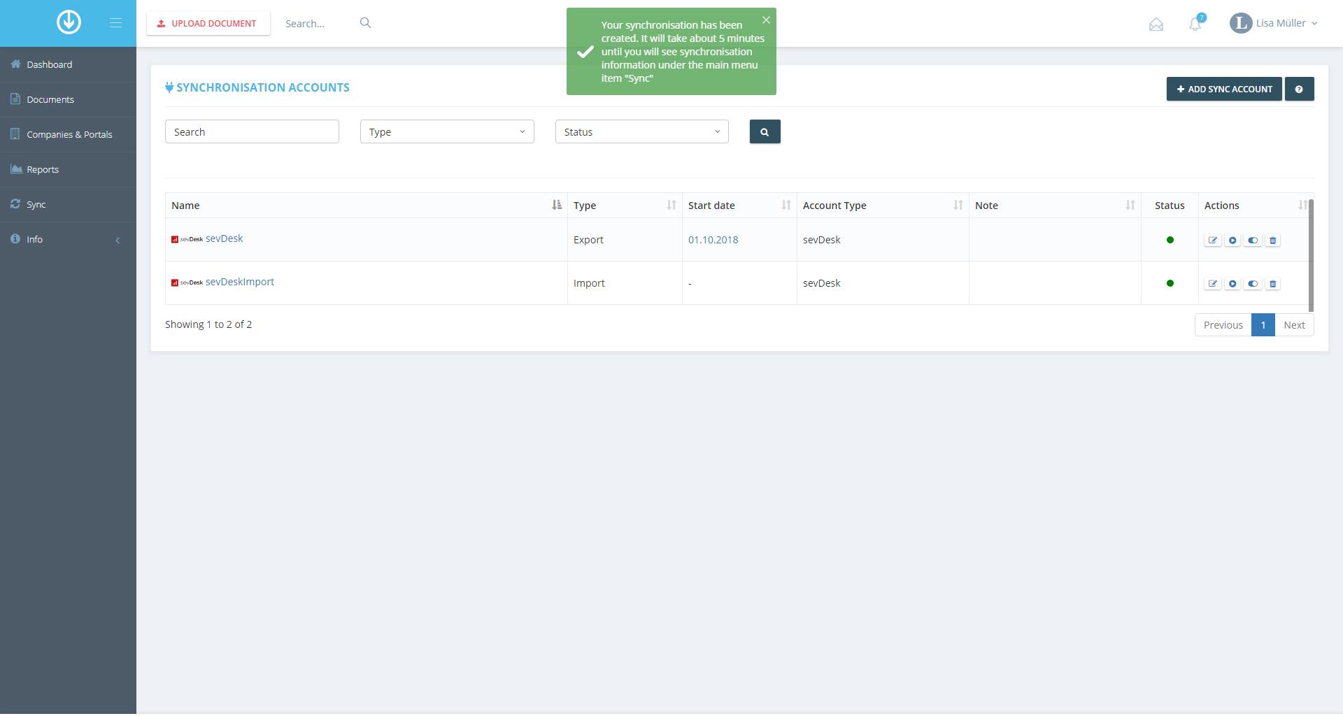 3. Exportation de document : ajouter un compte de synchronisation