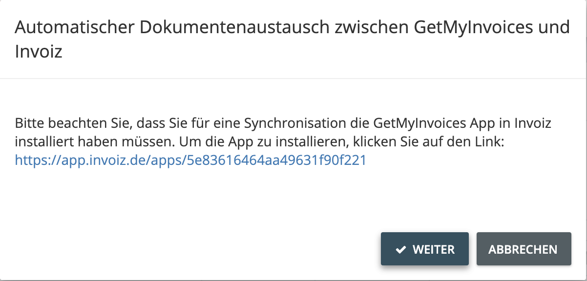 2. GetMyInvoices App in invoiz aktivieren