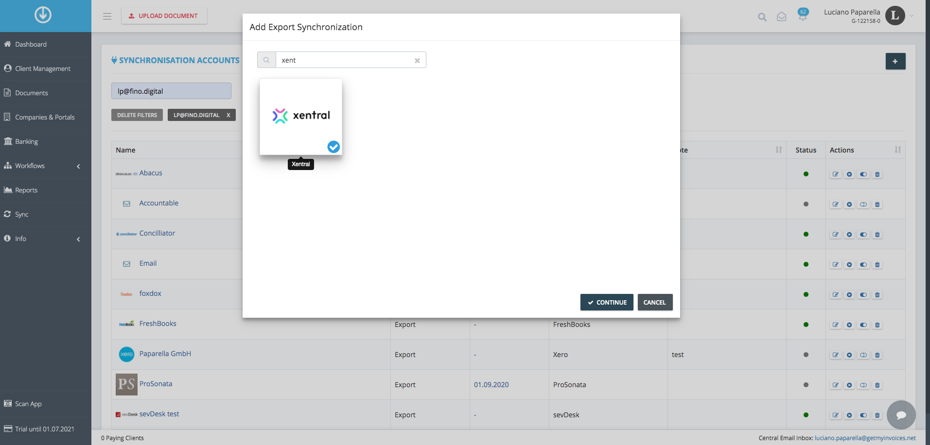 3. Connect xentral with GetMyInvoices