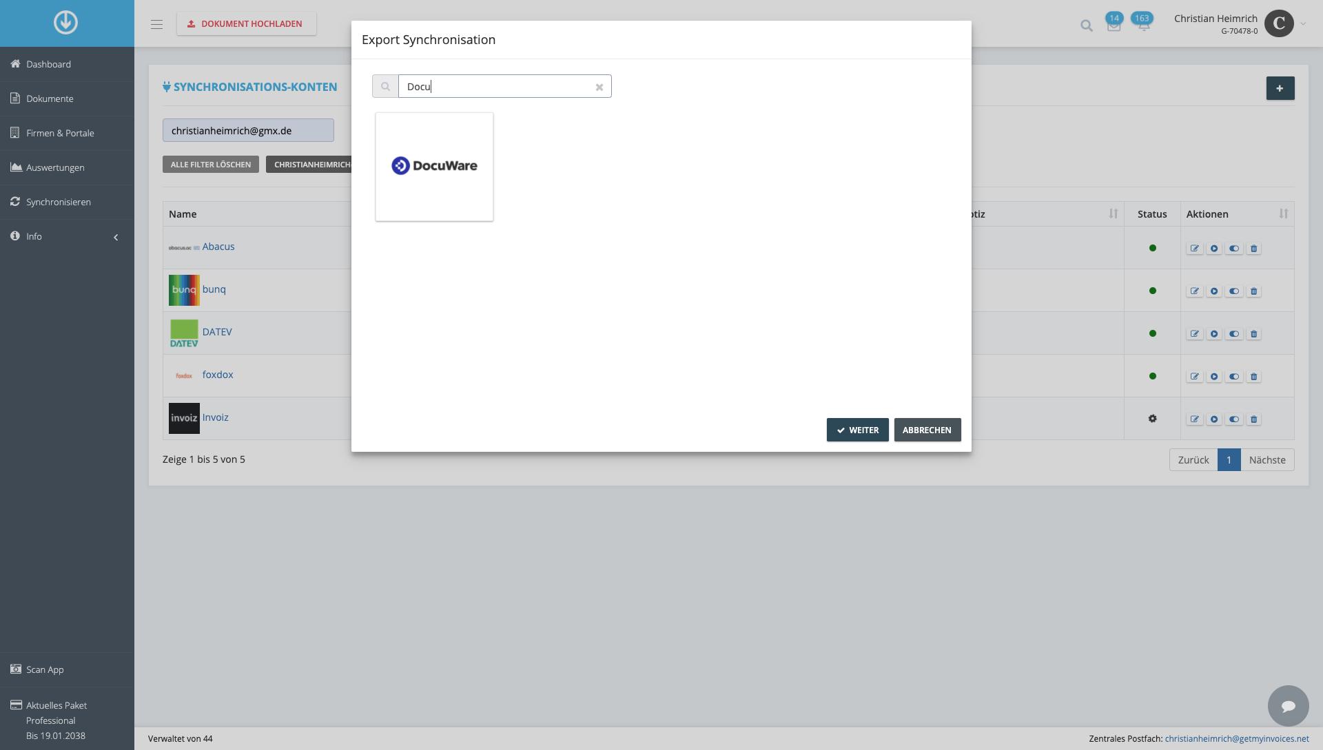 1. Document export: Start integration process