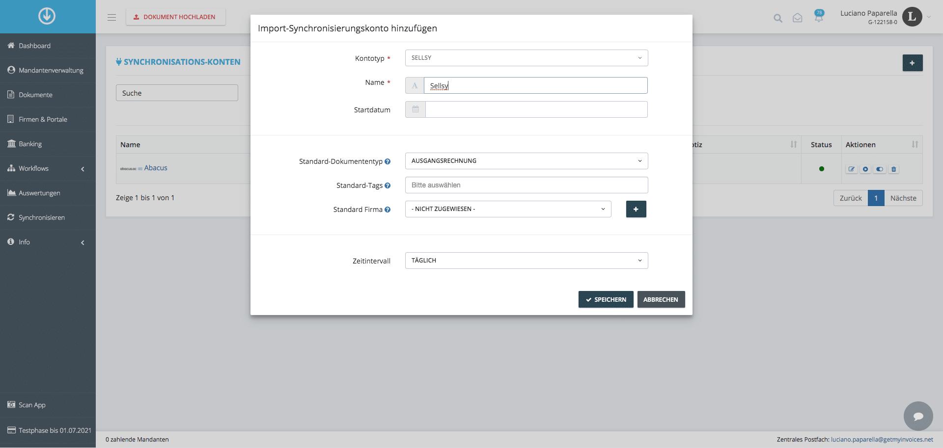 3. Añade la cuenta de sincronización de importación