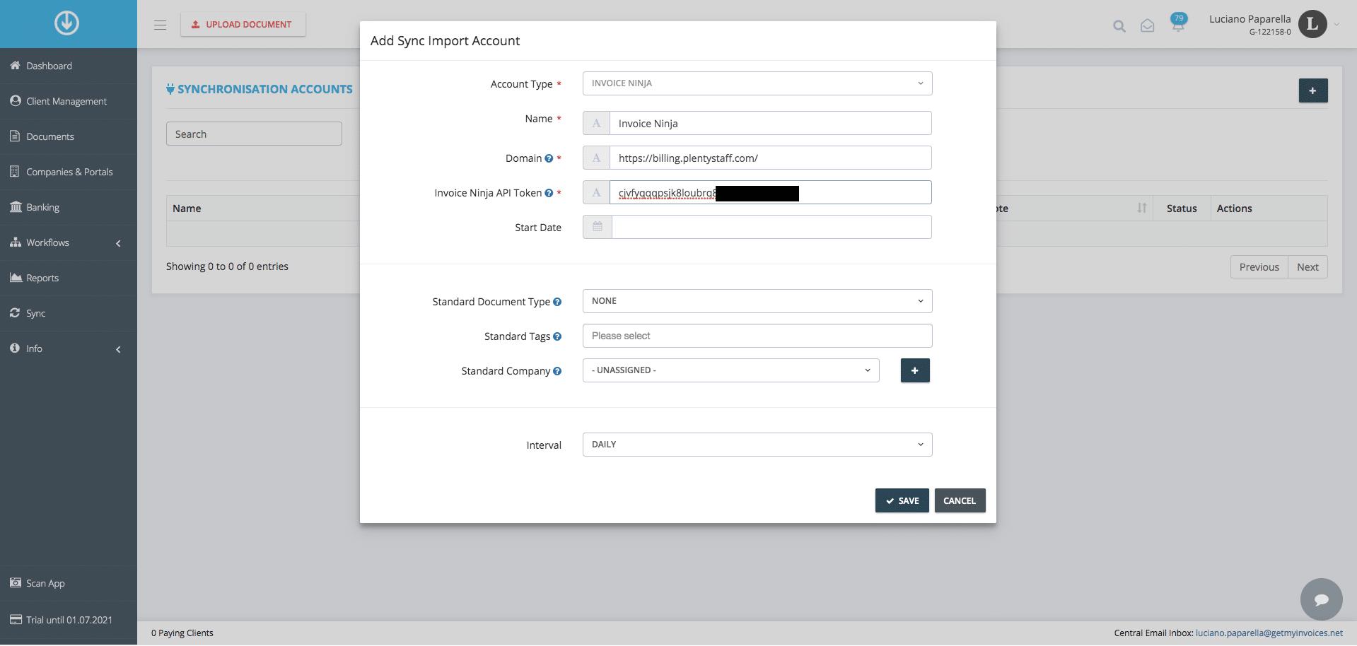 2. Conecta GetMyInvoices con Invoice Ninja