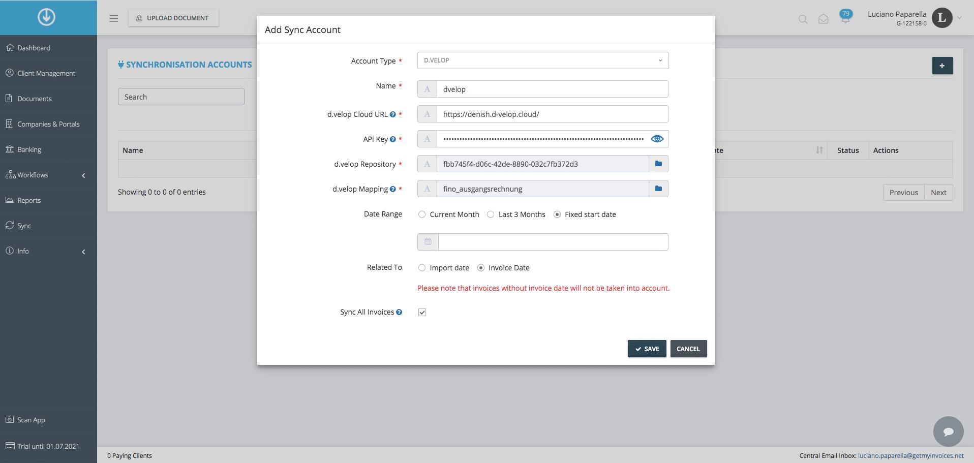 2. Exportation de document : Ajoutez les paramètres de Synchronisation