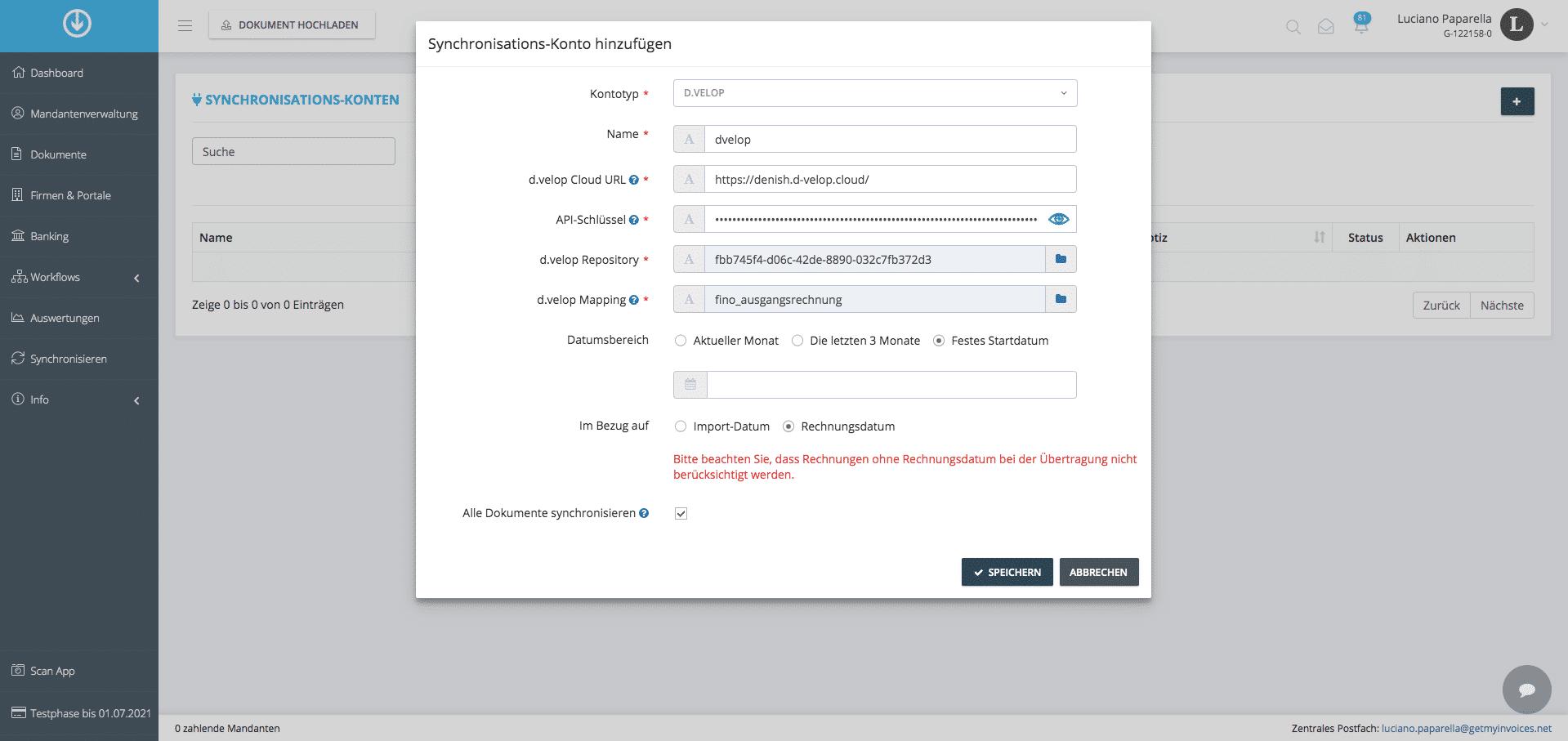 2. Dokumentenexport: Synchronisierungseinstellungen hinzufügen