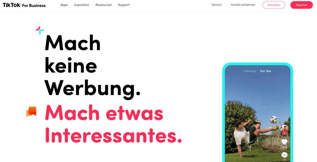 TikTok Werbung und Startseite von TikTok